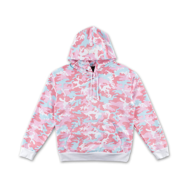 Candy Woodland Camo Hoodie pink and blue front view