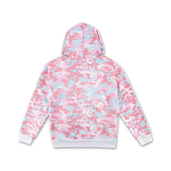 Candy Woodland Camo Hoodie pink and blue back view