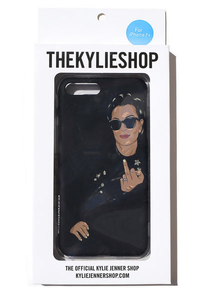 Kris Jenner Flip Off iPhone Case black back of case in packaging