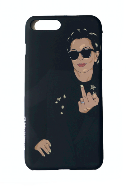 Kris Jenner Flip Off iPhone Case black back of case