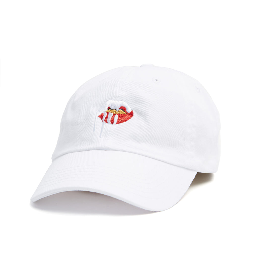 White dad hat with Kylie lips logo on front front view