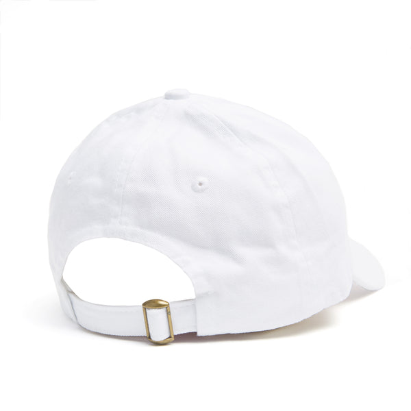 White dad hat with Kylie lips logo on front back view