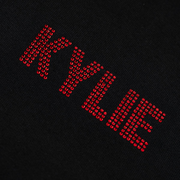 black KYLIE Rhinestone Hoodie crop, red logo front view close up