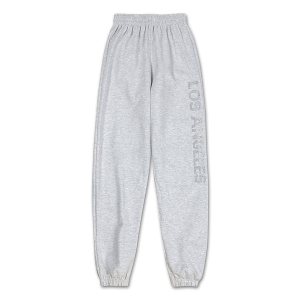 Los Angeles Pop Up Sweatpants - Grey logo down side front view