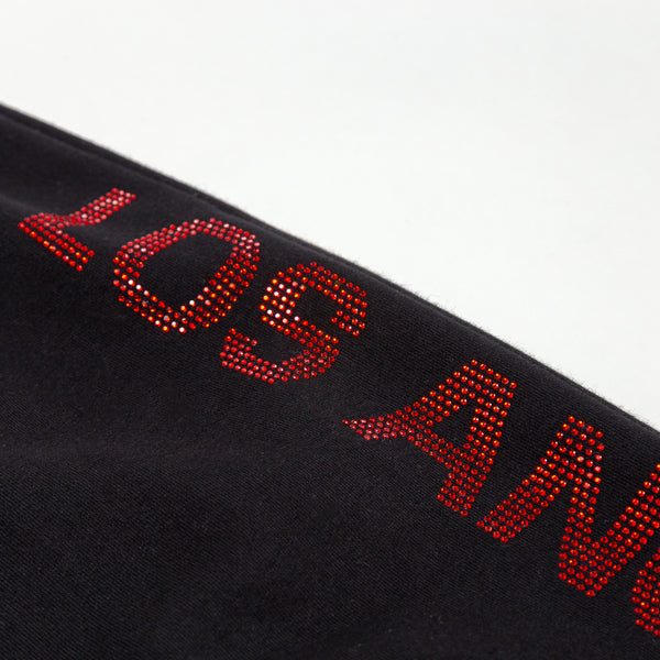 Los Angeles Pop Up Sweatpants - Black with red logo down side cropped close up view