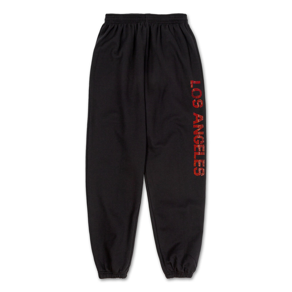 Los Angeles Pop Up Sweatpants - Black with red logo down side front view