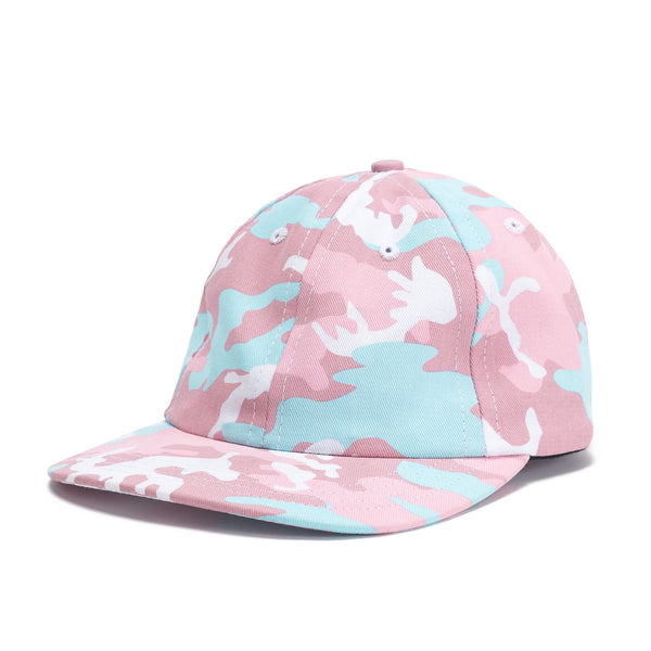 Front View Pink Woodland Camo Dad Hat