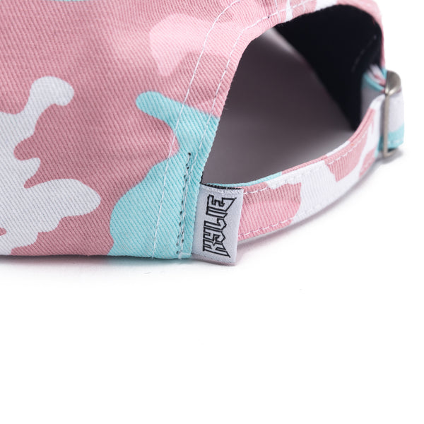 Pink Woodland Camo Dad Hat back view close up