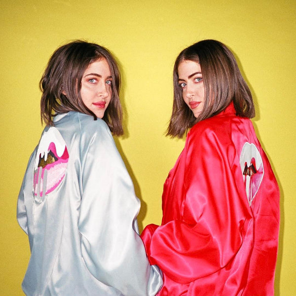 Lips Satin Bomber Jacket - silver and red back view on models