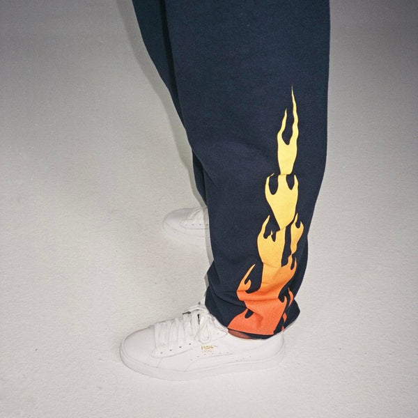 Flame Sweatpants - Navy flames down sides bottom profile view