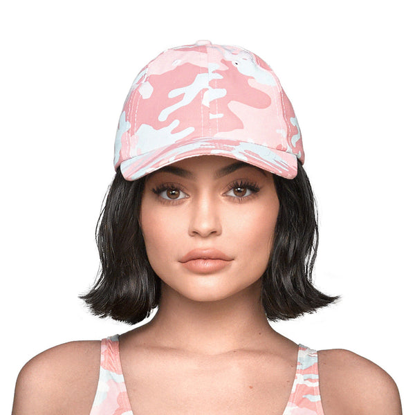Pink Woodland Camo Dad Hat front view on Kylie