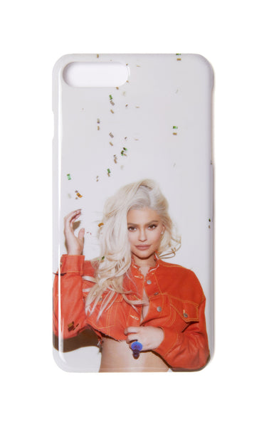 Kylie Phone Case - Orange jacket confetti back view