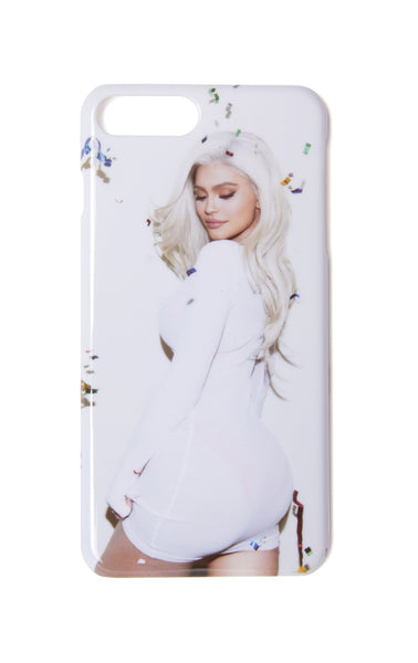 Kylie Phone Case - Confetti white Kylie looking back, back of case