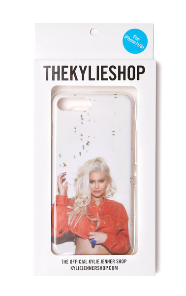 Kylie Phone Case - Orange jacket confetti back view in packaging