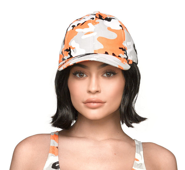 Camo Dad Hat - Orange Front view on Kylie