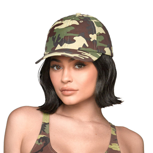 Camo Dad Hat - Green front view on Kylie