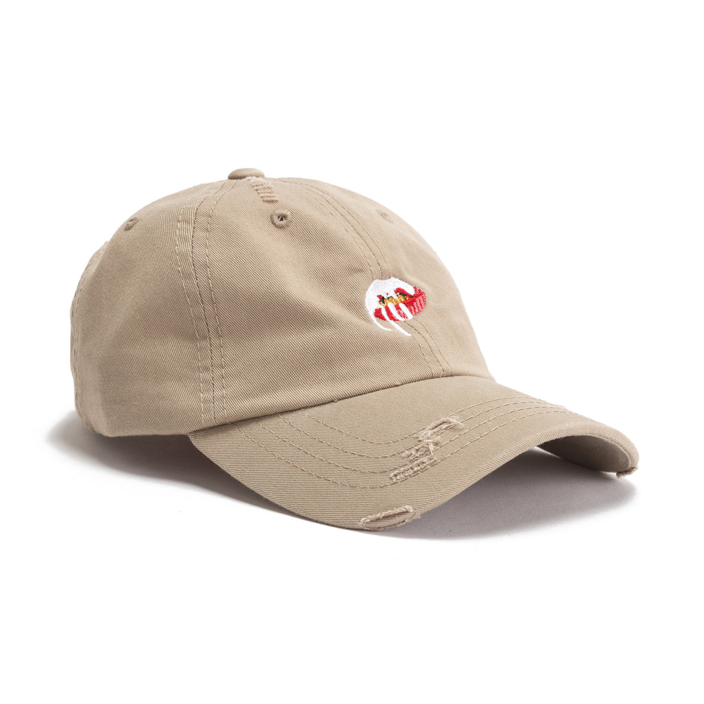 ... Lips logo Dad Hat - Distressed tan front view ... e9098f46f20