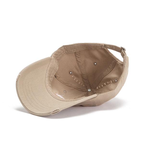 Lips logo Dad Hat - Distressed tan inside view