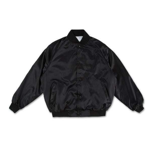Lips Satin Bomber Jacket - Black