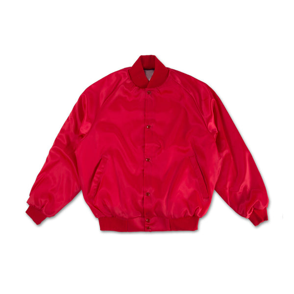 Lips Satin Bomber Jacket - Red back view
