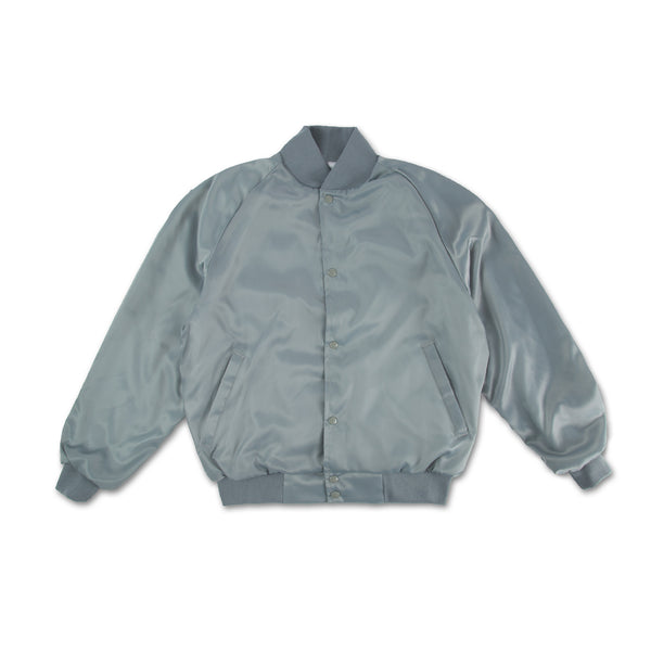 Lips Satin Bomber Jacket - Silver