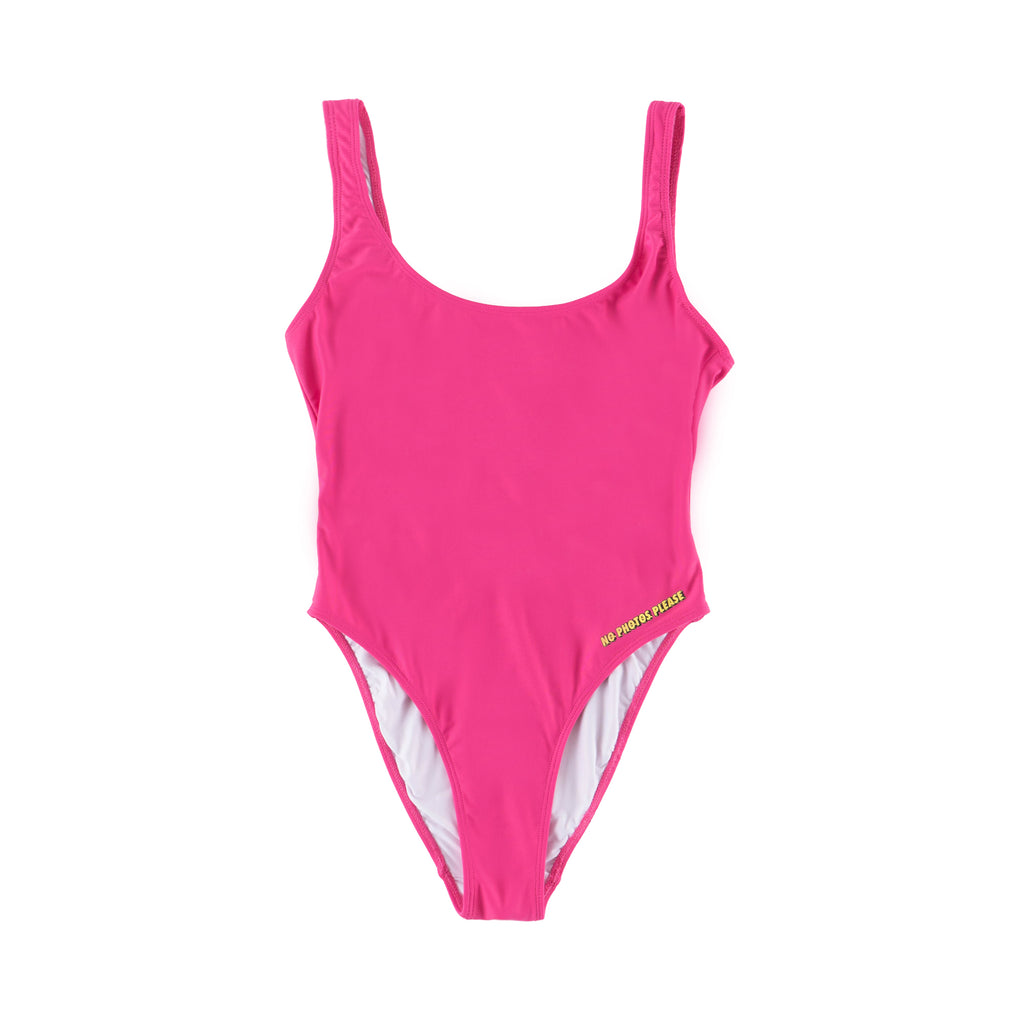 No Photos Please Pink One Piece bathing suit front view