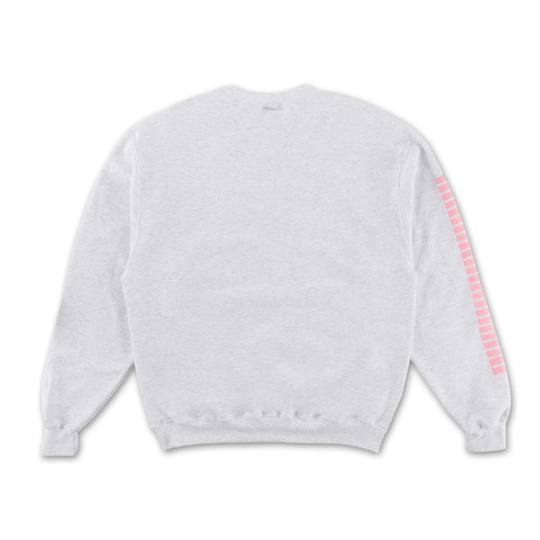 Grey Thick!!!! Crewneck - Grey pink writing on sleeve back view