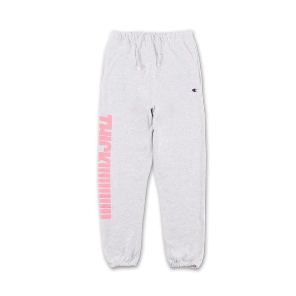 Thick!!!! Sweatpants - Grey pink writing on side front view
