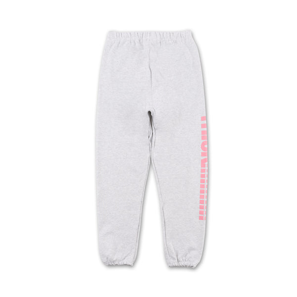 Thick!!!! Sweatpants - Grey pink writing on side back view