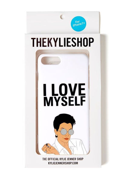"Kris Jenner Attitude ""I Love Myself"" iPhone Case white back of case in packaging"