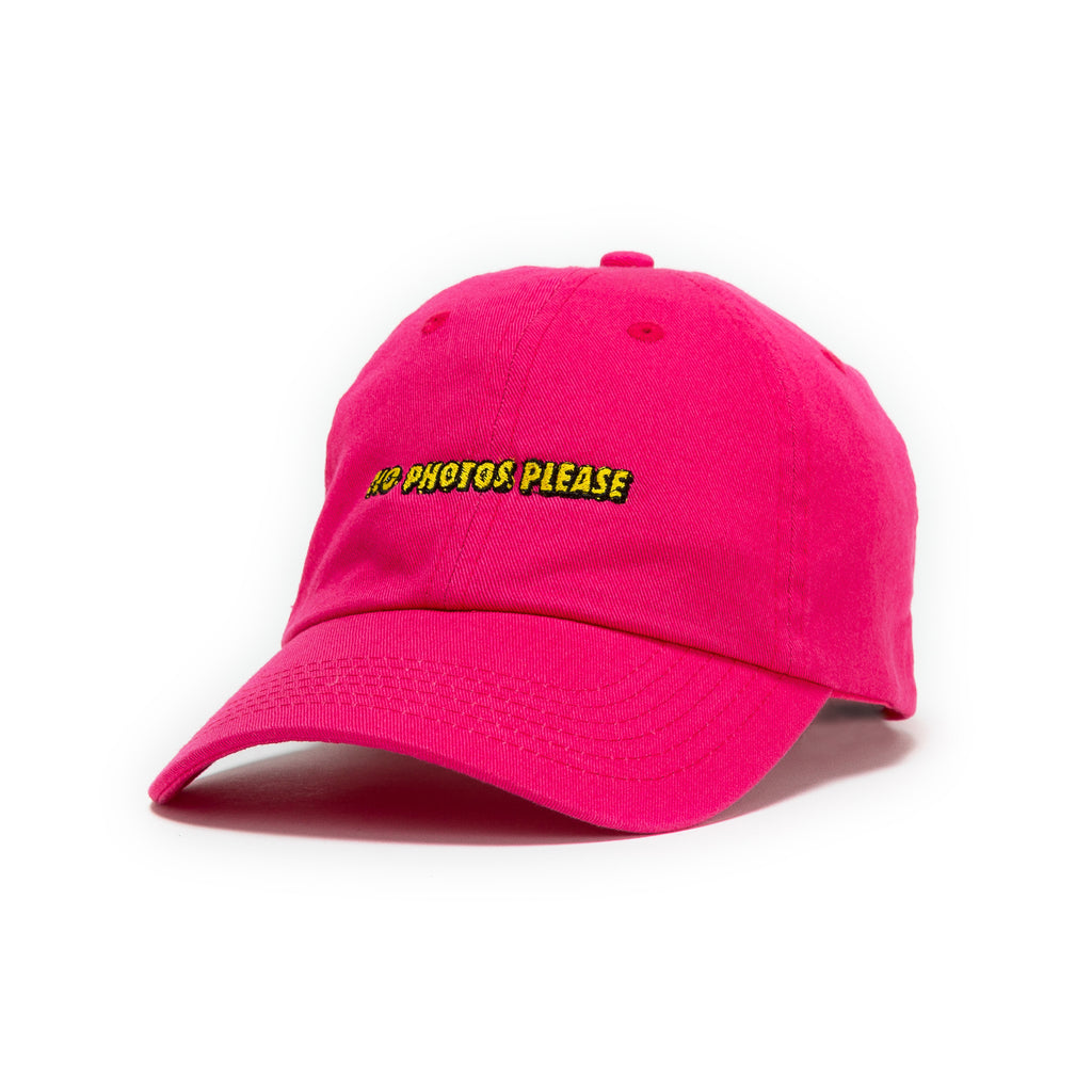 b87f8be48b0 No Photos Please Pink Dad Hat yellow writing front view