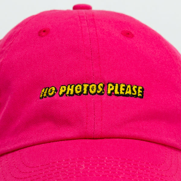 No Photos Please Pink Dad Hat close up view