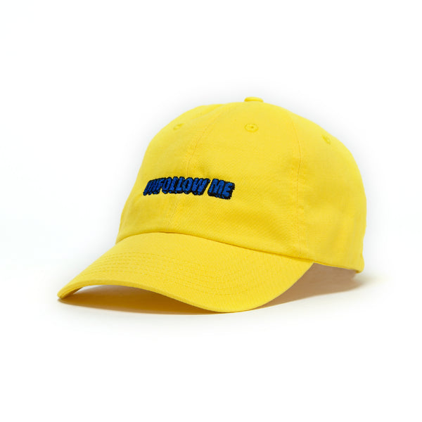 Unfollow Me Yellow Bright Dad Cap front view