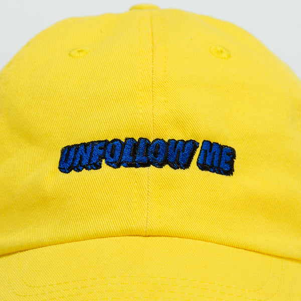 Unfollow Me Yellow Bright Dad Cap front view close up