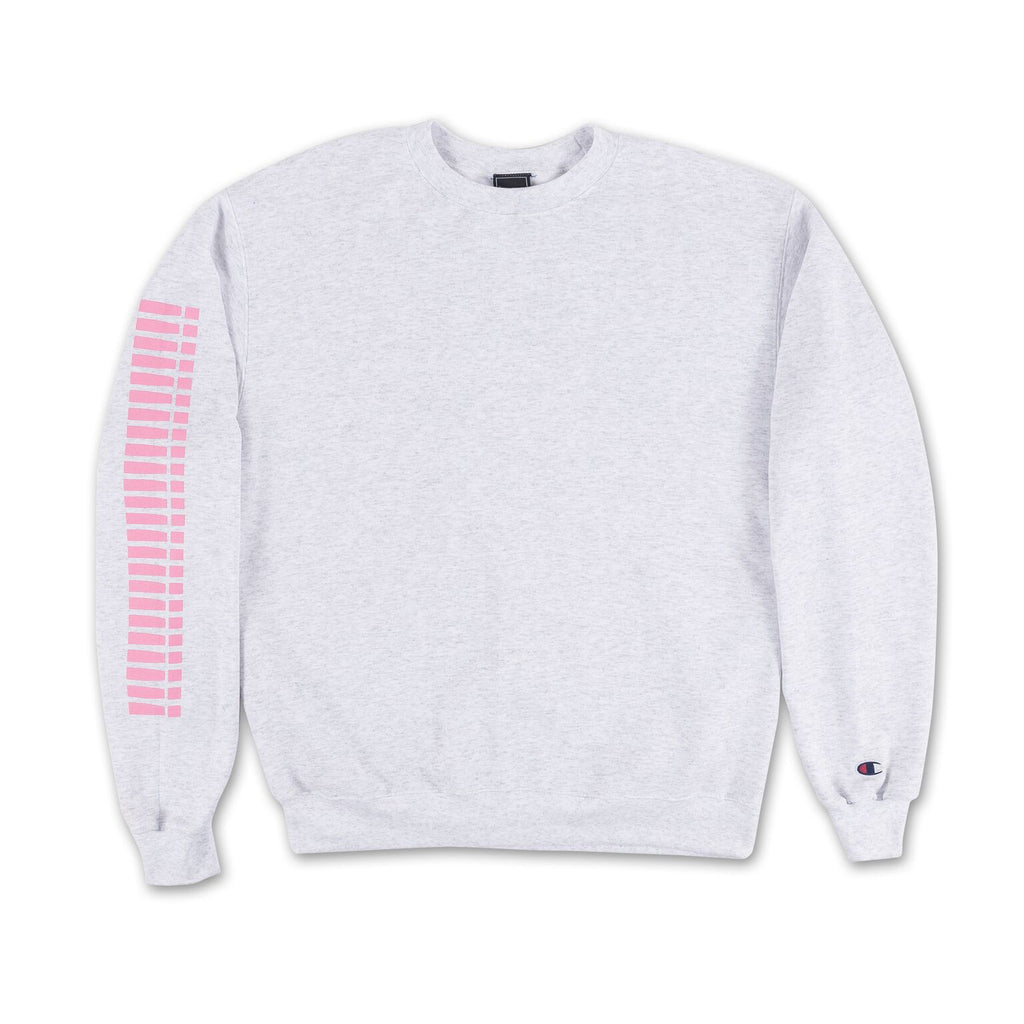 Grey Thick!!!! Crewneck - Grey pink writing on sleeve front view