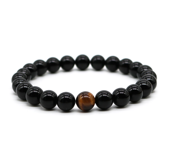black agate gemstone men's bracelet natural luxury