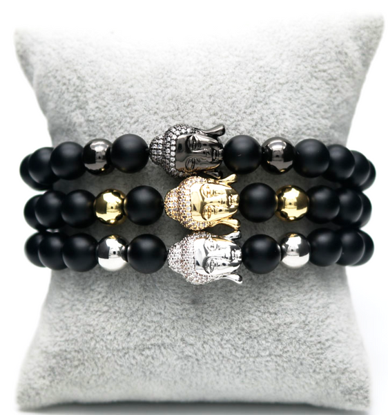 buddha matte gemstone men's bracelet natural luxury