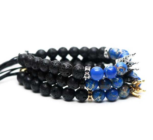 black lava gemstone men's bracelet natural luxury