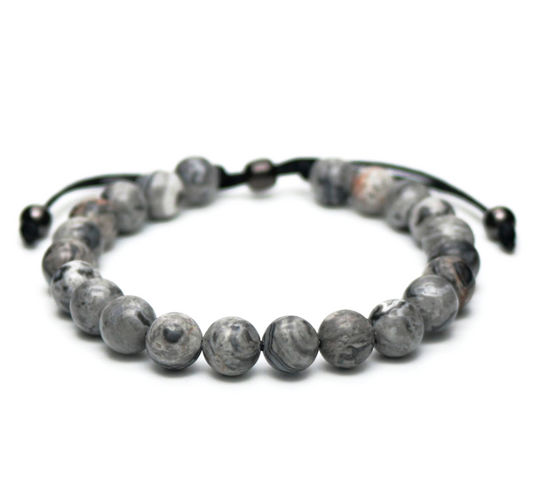 blue agate gemstone men's bracelet natural luxury
