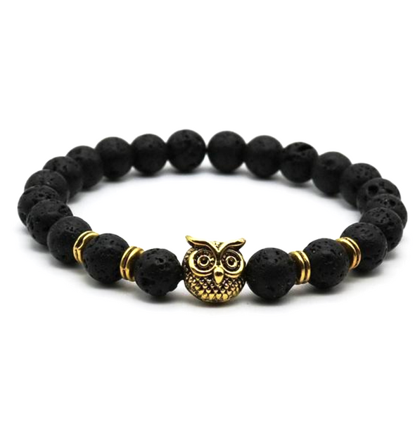 owl black lava gemstone men's bracelet natural luxury