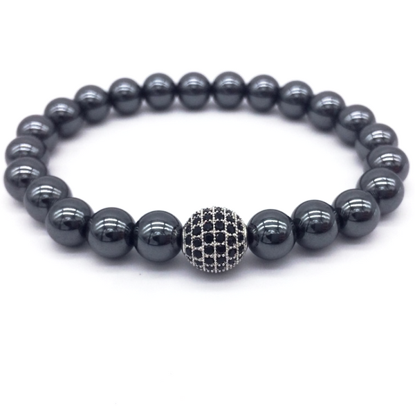 hematite stone men's bracelet natural luxury