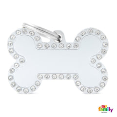 Glam Rhinestone Large Bone ID Tag