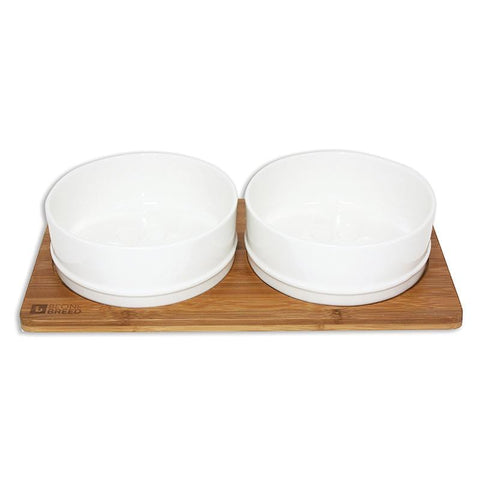 Bamboo & Ceramic Bowls with Paw Prints