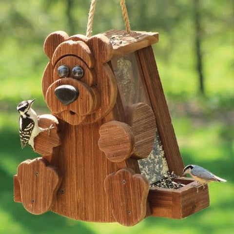 Country Style Bear Wooden Bird Feeder