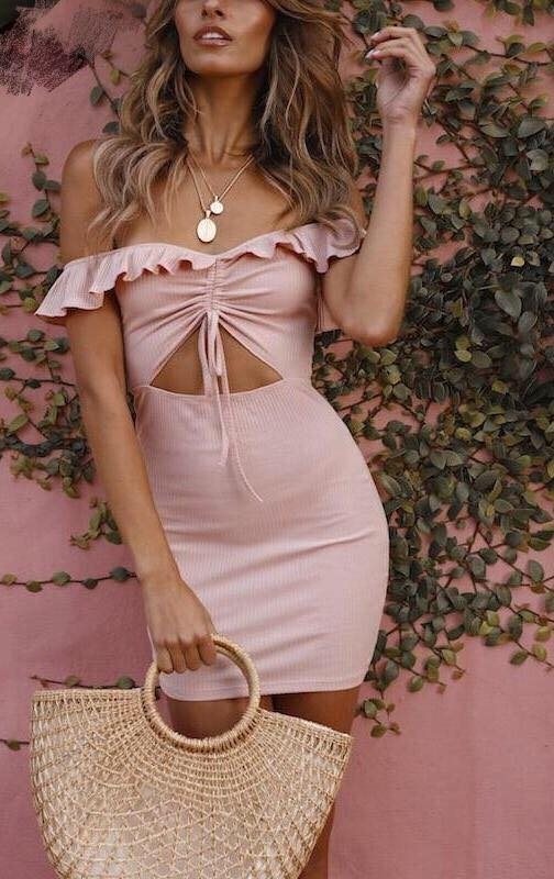 Pink Off-Shoulder Ruffle Dress