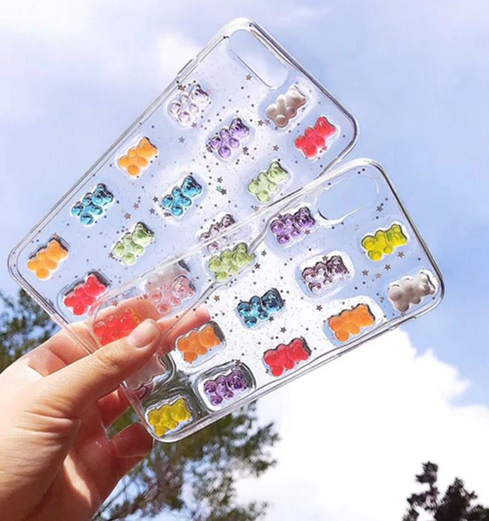 Colorful Bear & Cat Glitter Case