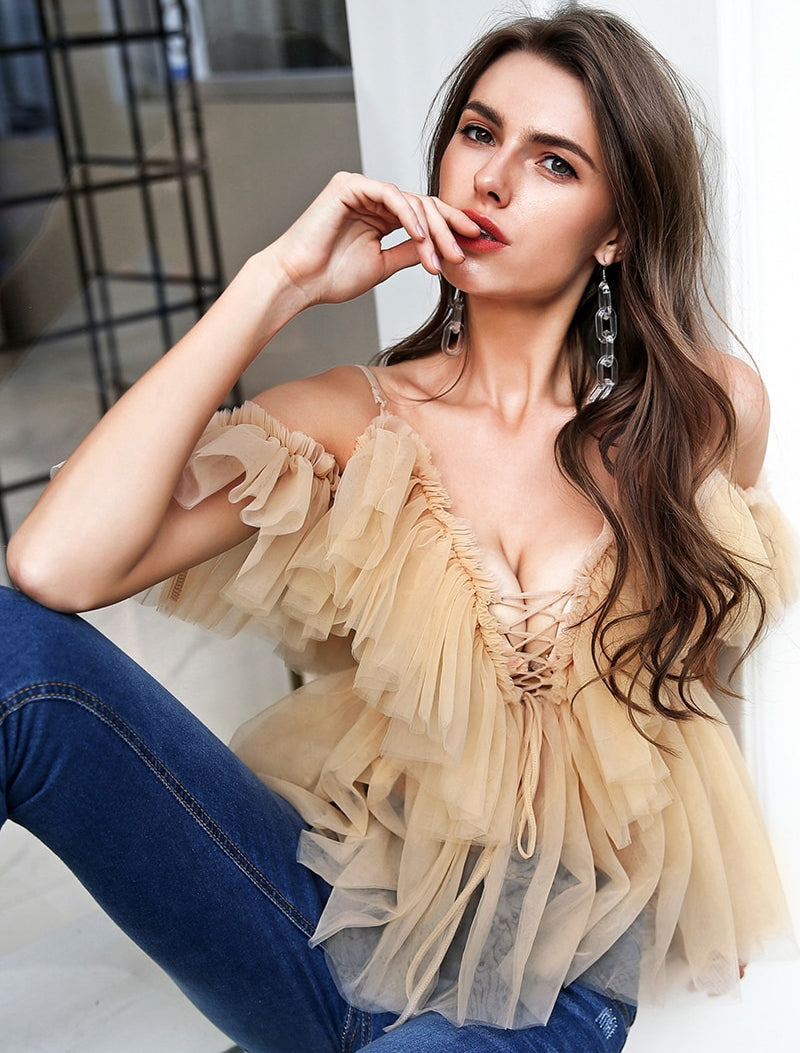 Sexy v neck off shoulder sleeveless top