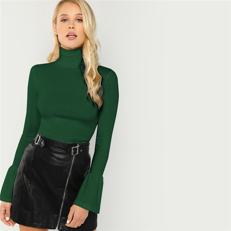 Army Green Bell Sleeve Top