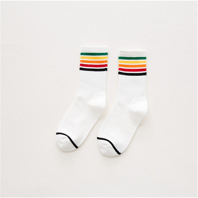 Rainbow Striped Crew Length Socks