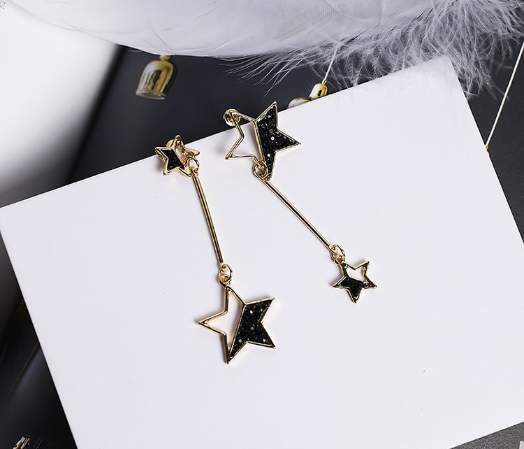 Black Rhinestone Star Earrings